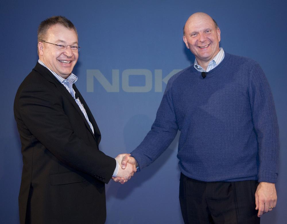 Stephen Elop (esquerra) i Steve Ballmer