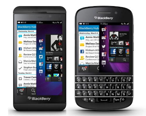 BlackBerry Z10 (izquierda) y el Q10