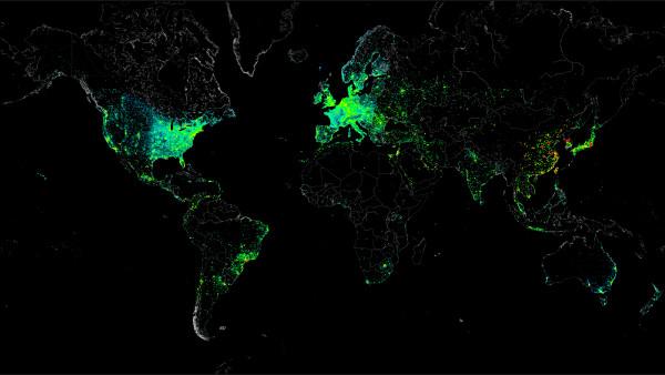 El mapa de la connectivitat a Internet, segons les adreces IP geolocalitzades, i elaborat pel grup de hackers creadors de la botnet Carna
