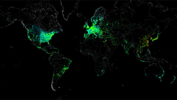 El mapa de la conectividad a Internet, según las direcciones IP geolocalizadas, y elaborado por el grupo de hackers creadores de la botnet Carna