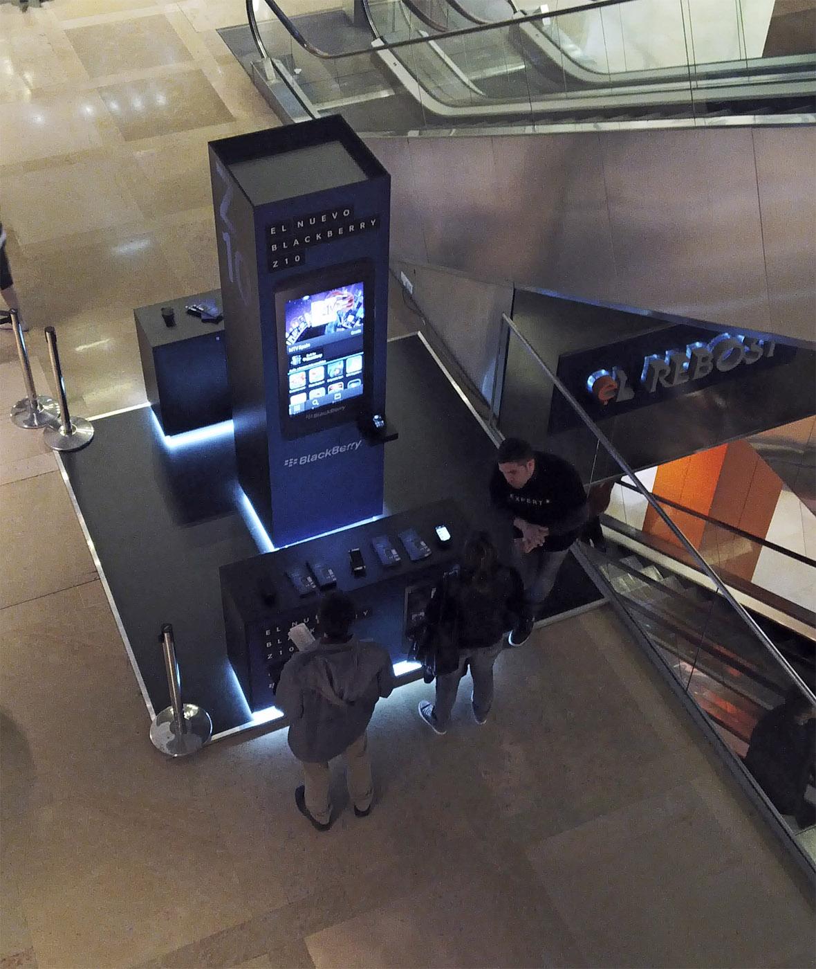 Un lloc de promoció de BlackBerry en un centre comercial