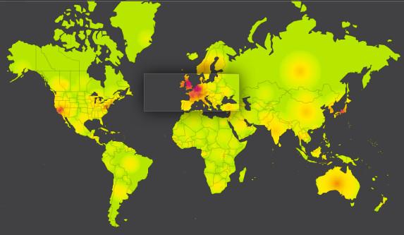 Mapa de l'activitat de la xarxa, en el qual es pot apreciar clarament la zona afectada per l'atac DDoS