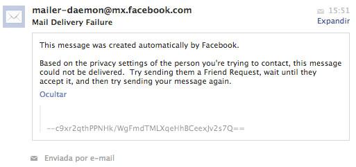 Aquest és el missatge d'error que ens presenta Facebook quan intentem enviar un missatge a algú que no és contacte directe nostre