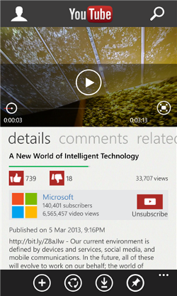 App de YouTube de Microsoft per a Windows Phone 8
