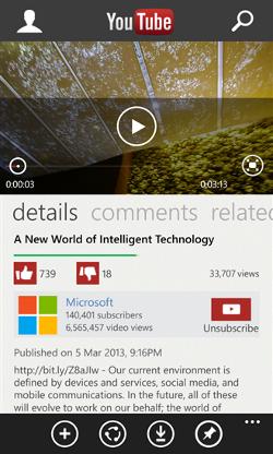 App de YouTube de Microsoft per a Windows Phone 8