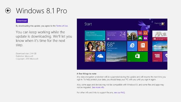 Actualització a Windows 8.1 a la Windows Store. Imatge cortesia de Microsoft