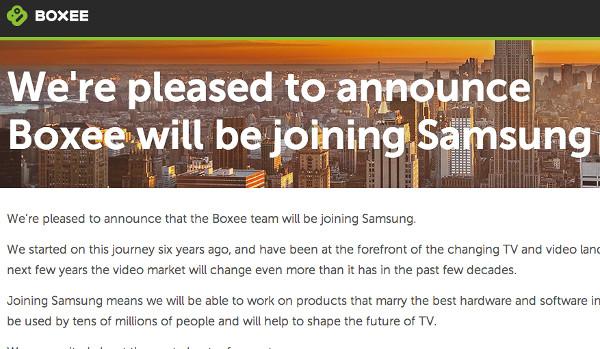 Missatge de Boxee a la seva pàgina web anunciant l'adquisició per part de Samsung