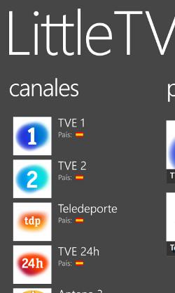 Part del llistat de canals que LittleTV permet veure