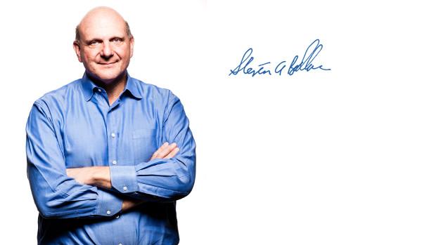 imagen de Steve Ballmer y, al lado, su firma