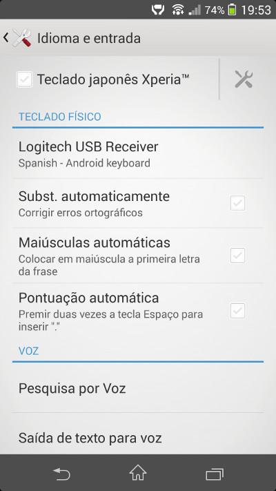 Configuración del teclado físico Logitech en el panel de control de Android