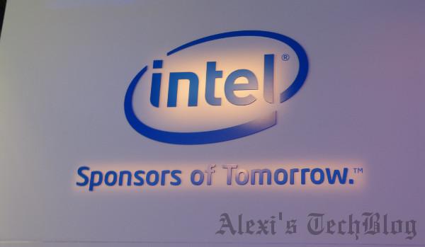 Logo de Intel, del estand de una feria