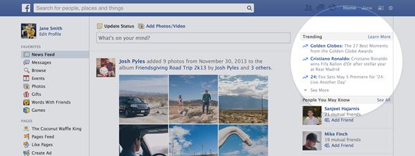 Así quedarán los Trendings de Facebook