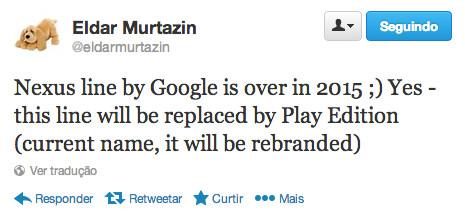 El tweet de Eldar Murtazin sobre el fin de la línea Nexus en 2015