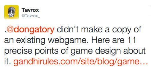 Nguyen ha sido acusado de copiar elementos de otros videojuegos por parte de diversos tuiteros, como este