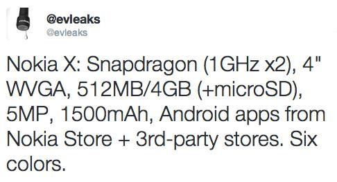 Tweet en el que Evan Blass revela las especificaciones de hardware del Nokia X/Normandy, a través de la cuenta @evleaks