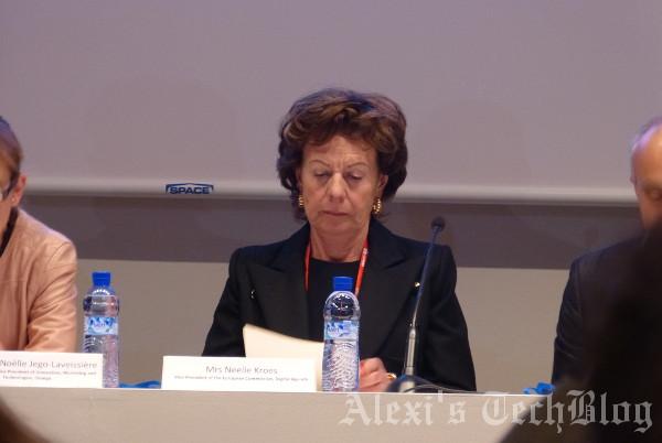 Neelie Kroes, Comisaria Europea para la Agenda Digital, en el acto de ayer