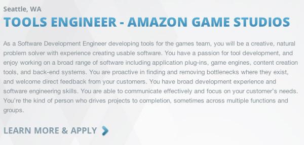 Amazon dispone de su propia editora de videojuegos, con ofertas laborales que, no obstante, no revelan explícitamente la posible intención de construir una videoconsola