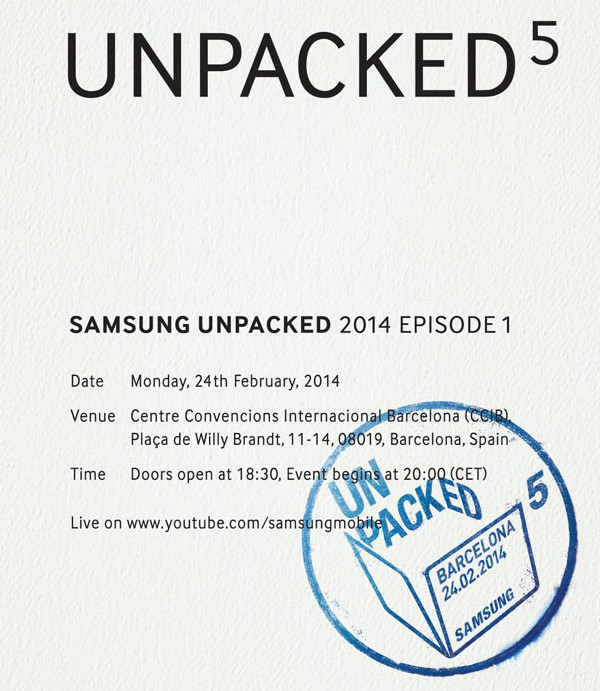 Invitación enviada a medios para el Samsung Unpacked