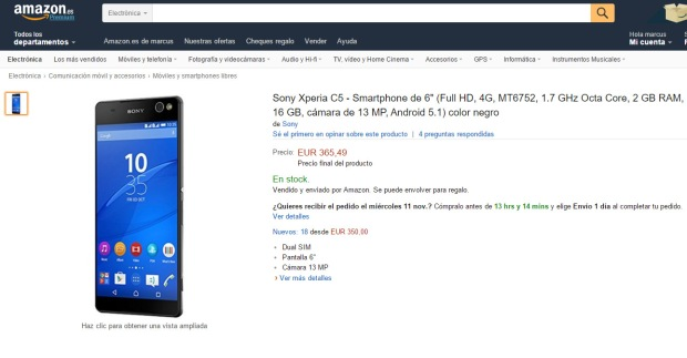 comprar_xperia_c5_ultra_amazon